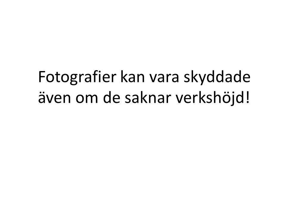 Fotografier kan vara skyddade även om de saknar verkshöjd!