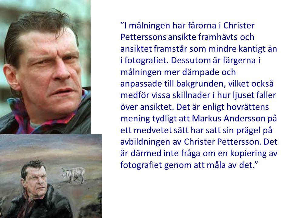 I målningen har fårorna i Christer Petterssons ansikte framhävts och ansiktet framstår som mindre kantigt än i fotografiet.