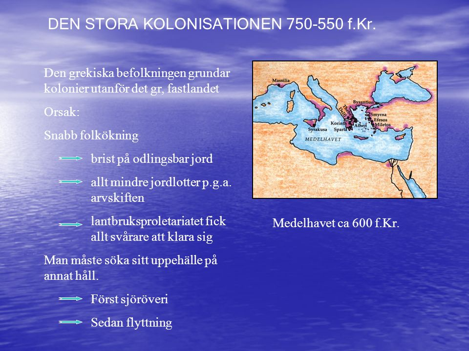 DEN STORA KOLONISATIONEN 750-550 f.Kr.