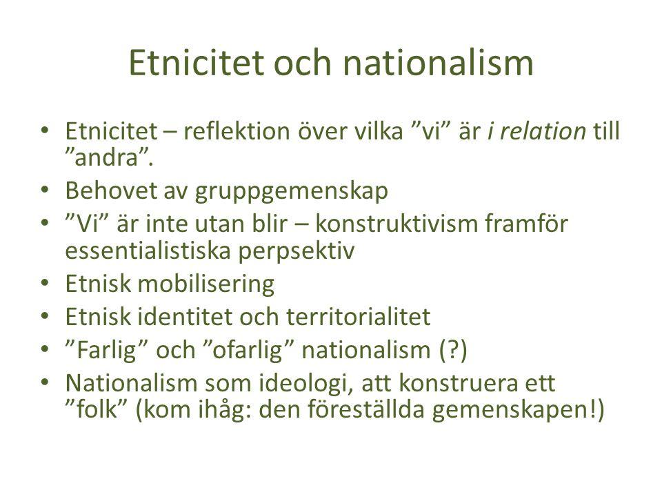 Etnicitet och nationalism Etnicitet – reflektion över vilka vi är i relation till andra .