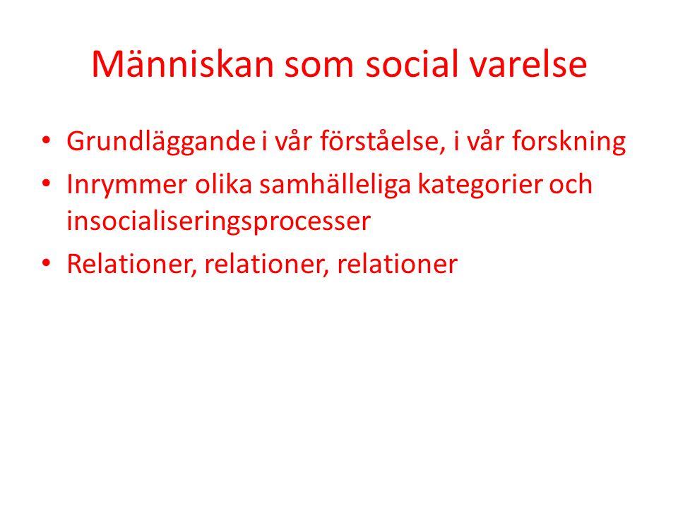 Människan som social varelse Grundläggande i vår förståelse, i vår forskning Inrymmer olika samhälleliga kategorier och insocialiseringsprocesser Relationer, relationer, relationer