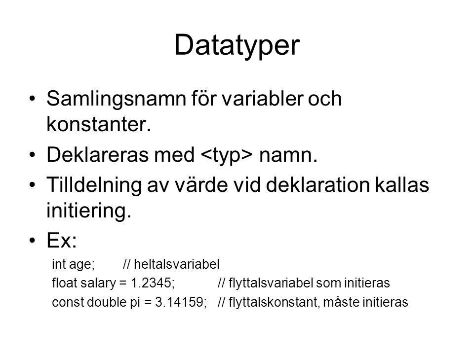 Datatyper Samlingsnamn för variabler och konstanter. Deklareras med namn. Tilldelning av värde vid deklaration kallas initiering. Ex: int age;// helta