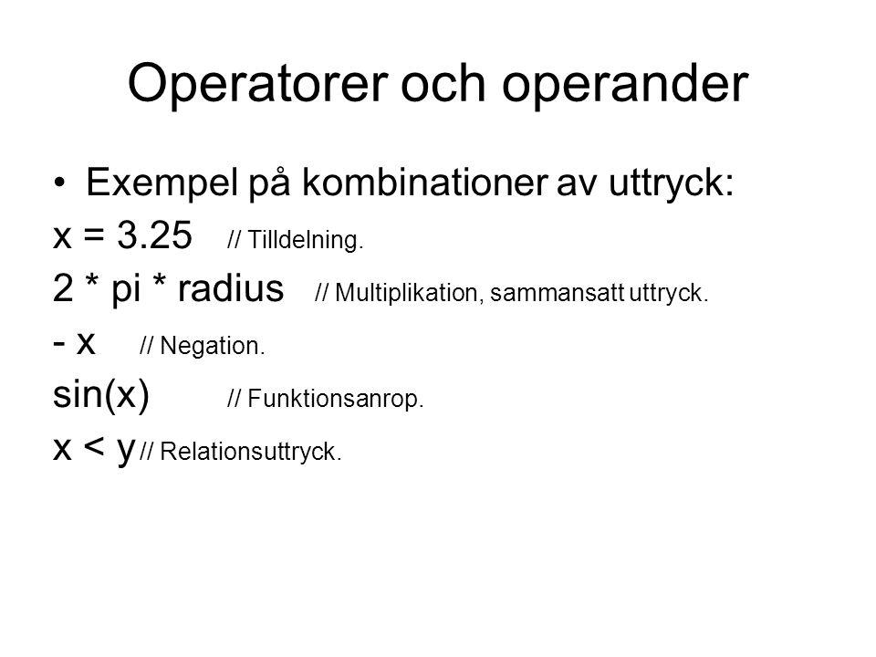Operatorer och operander Exempel på kombinationer av uttryck: x = 3.25 // Tilldelning. 2 * pi * radius // Multiplikation, sammansatt uttryck. - x // N