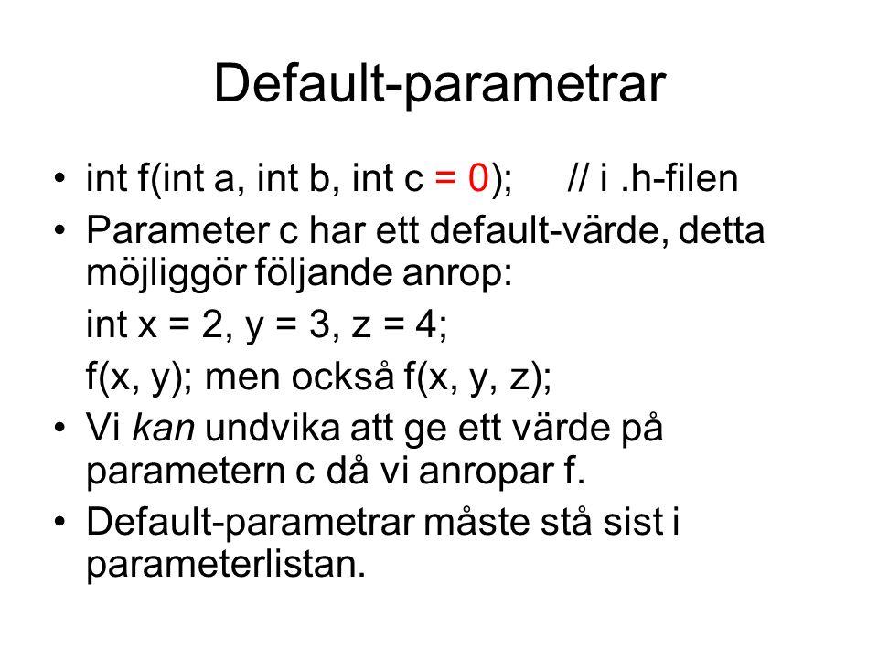 Default-parametrar int f(int a, int b, int c = 0); // i.h-filen Parameter c har ett default-värde, detta möjliggör följande anrop: int x = 2, y = 3, z = 4; f(x, y); men också f(x, y, z); Vi kan undvika att ge ett värde på parametern c då vi anropar f.