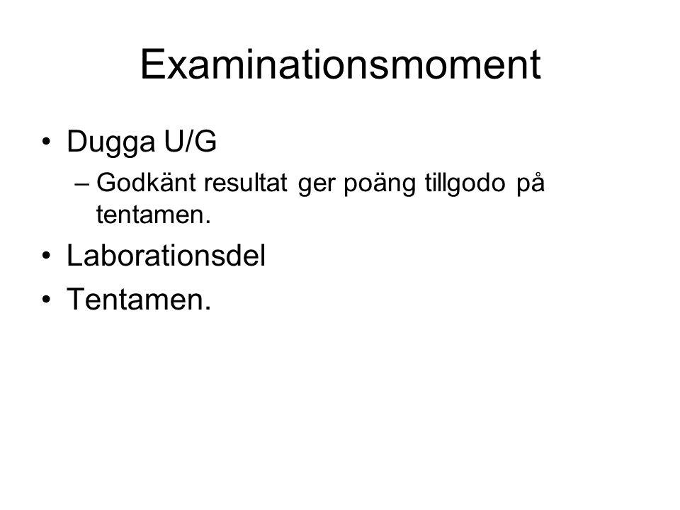 Examinationsmoment Dugga U/G –Godkänt resultat ger poäng tillgodo på tentamen. Laborationsdel Tentamen.