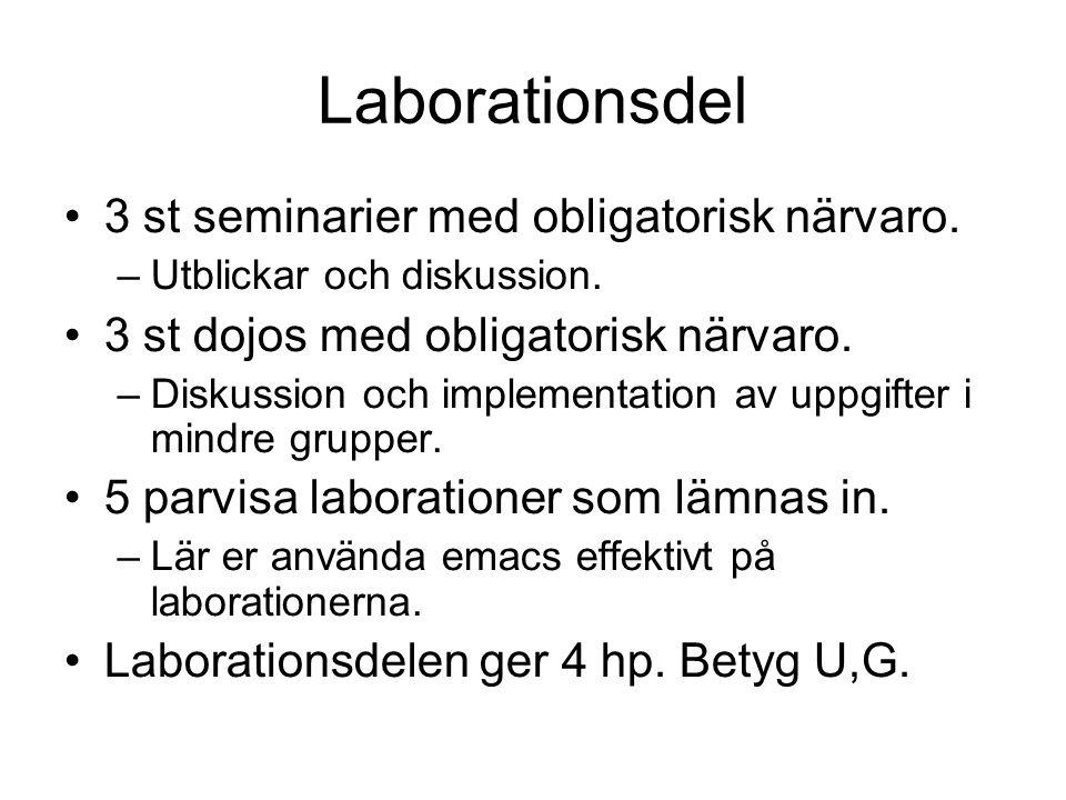 Laborationsdel 3 st seminarier med obligatorisk närvaro. –Utblickar och diskussion. 3 st dojos med obligatorisk närvaro. –Diskussion och implementatio