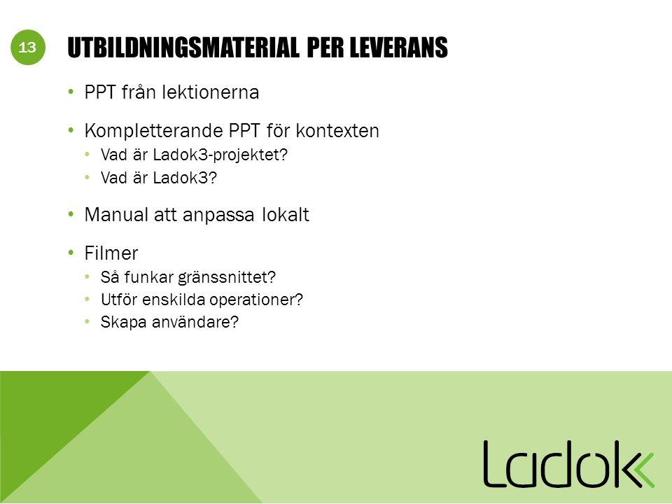 13 UTBILDNINGSMATERIAL PER LEVERANS PPT från lektionerna Kompletterande PPT för kontexten Vad är Ladok3-projektet? Vad är Ladok3? Manual att anpassa l
