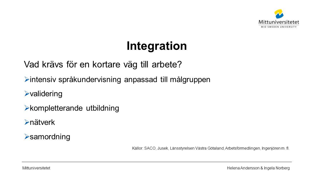 Mittuniversitetet Integration Vad krävs för en kortare väg till arbete.