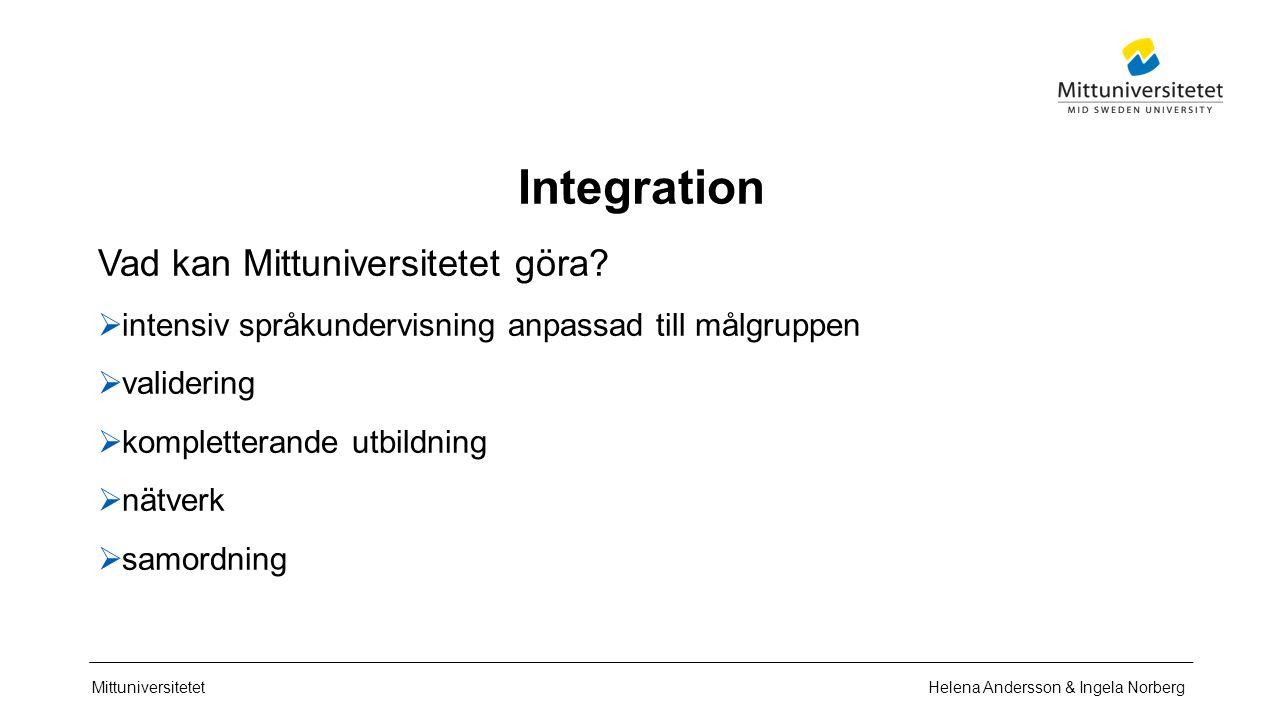 Mittuniversitetet Integration Vad kan Mittuniversitetet göra?  intensiv språkundervisning anpassad till målgruppen  validering  kompletterande utbi