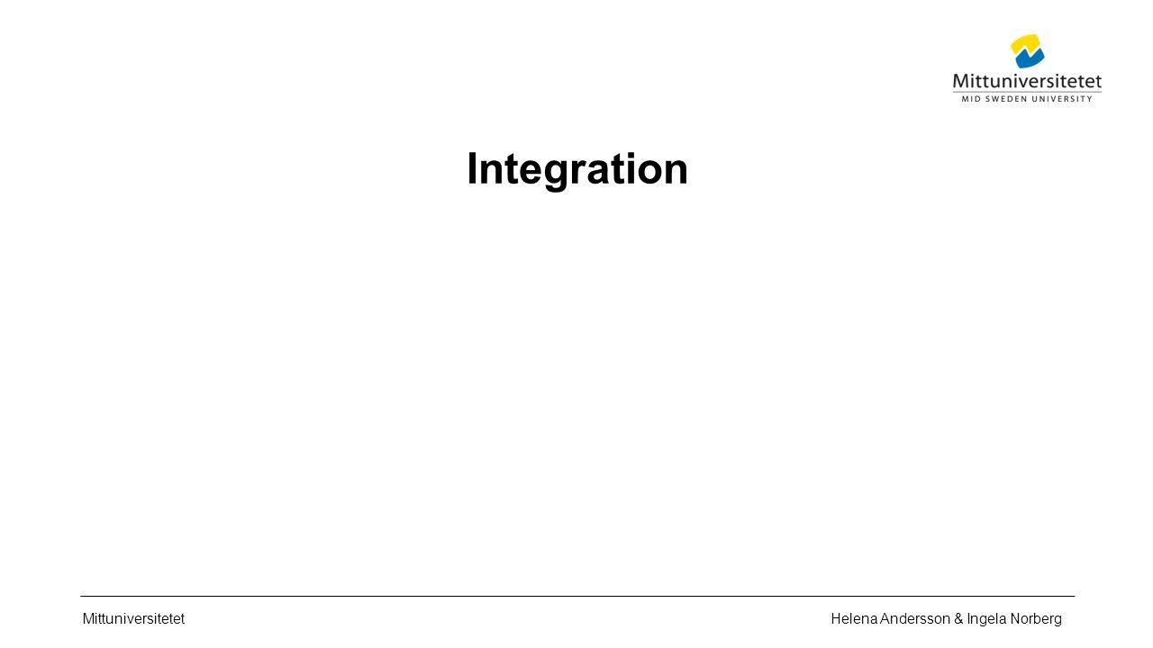 Mittuniversitetet Integration Helena Andersson & Ingela Norberg