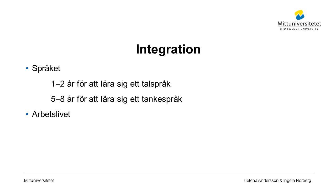 Mittuniversitetet Integration Språket 1 ‒ 2 år för att lära sig ett talspråk 5 ‒ 8 år för att lära sig ett tankespråk Arbetslivet Helena Andersson & Ingela Norberg