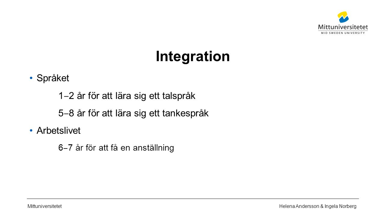 Mittuniversitetet Integration Språket 1 ‒ 2 år för att lära sig ett talspråk 5 ‒ 8 år för att lära sig ett tankespråk Arbetslivet 6 ‒ 7 år för att få en anställning Helena Andersson & Ingela Norberg
