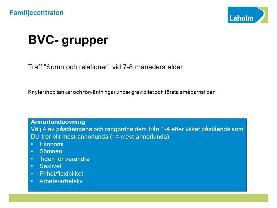 BVC- grupper Träff Sömn och relationer vid 7-8 månaders ålder.