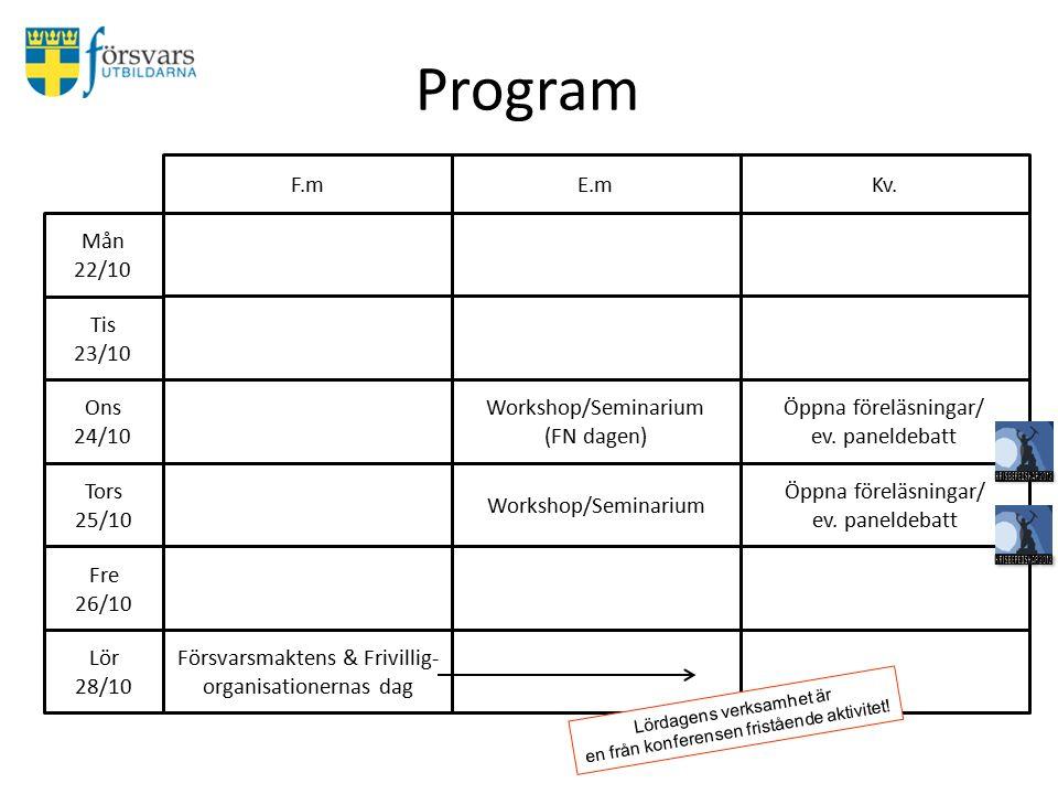 Program Mån 22/10 Tis 23/10 Ons 24/10 F.mE.mKv.