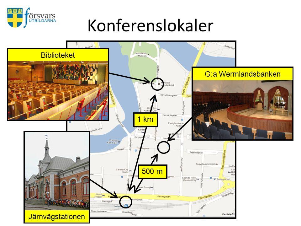 Konferenslokaler G:a Wermlandsbanken Biblioteket Järnvägstationen 1 km 500 m