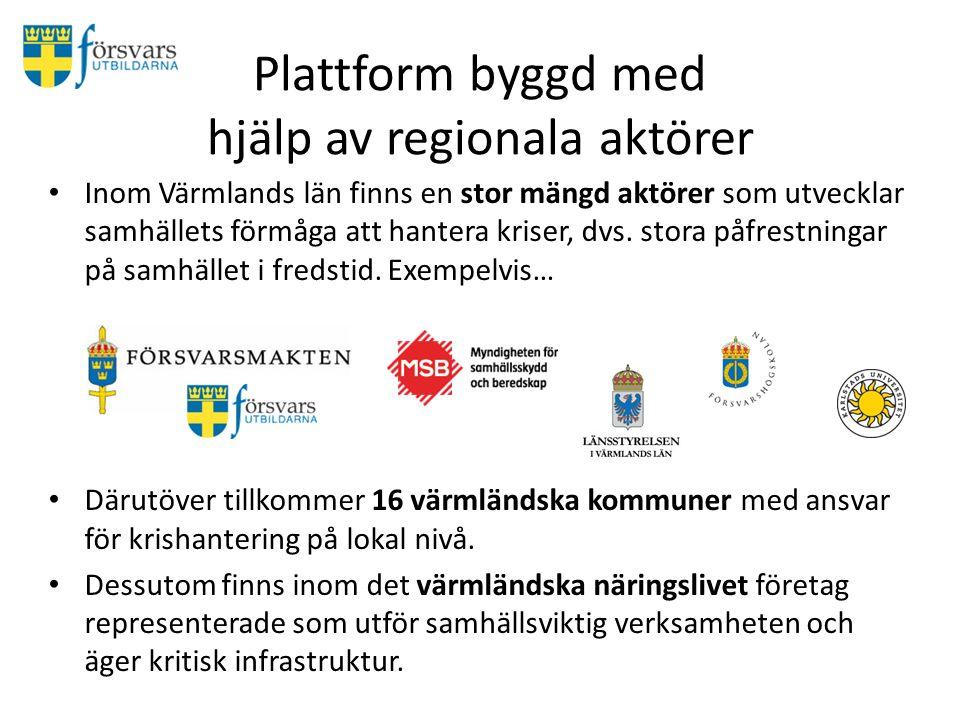 Plattform byggd med hjälp av regionala aktörer Inom Värmlands län finns en stor mängd aktörer som utvecklar samhällets förmåga att hantera kriser, dvs.