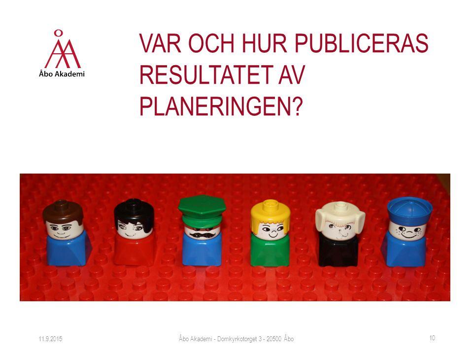 11.9.2015 10 VAR OCH HUR PUBLICERAS RESULTATET AV PLANERINGEN? Åbo Akademi - Domkyrkotorget 3 - 20500 Åbo