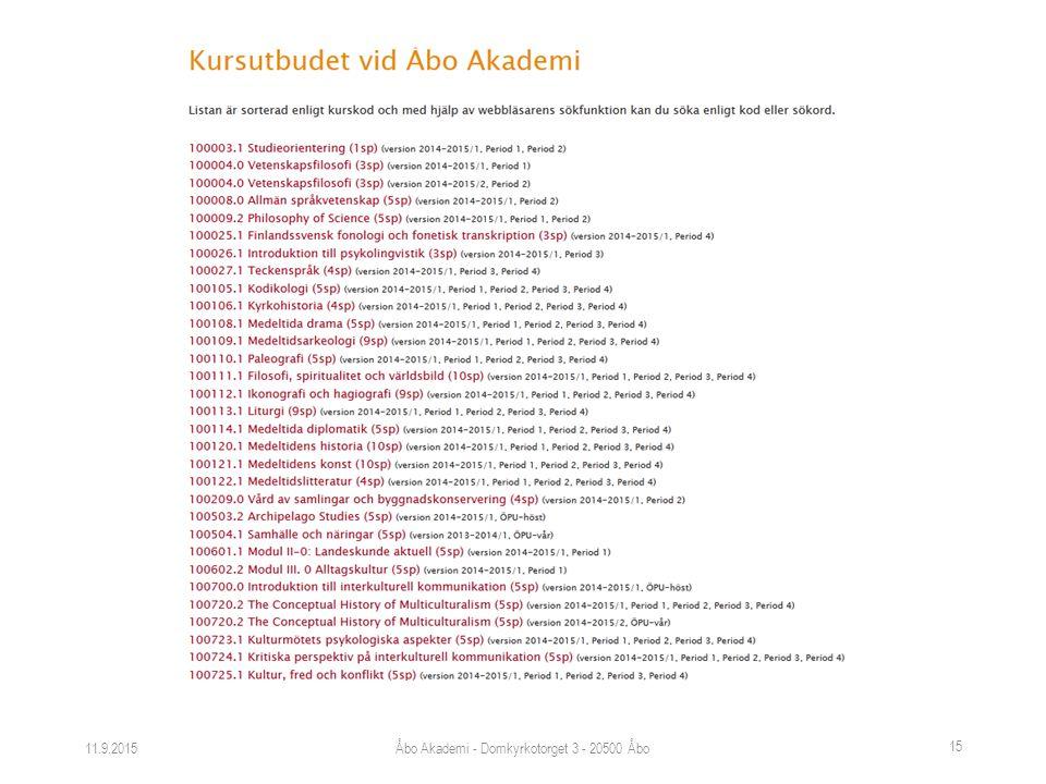 11.9.2015Åbo Akademi - Domkyrkotorget 3 - 20500 Åbo 15