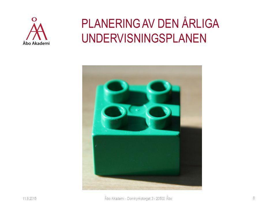 11.9.2015 8 PLANERING AV DEN ÅRLIGA UNDERVISNINGSPLANEN Åbo Akademi - Domkyrkotorget 3 - 20500 Åbo
