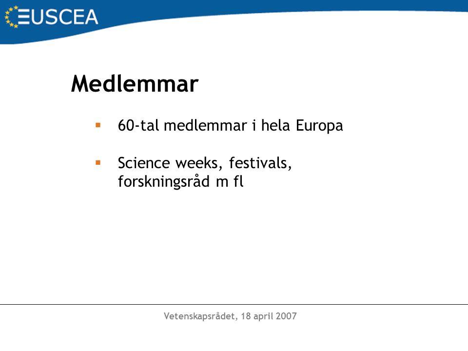 Medlemmar  60-tal medlemmar i hela Europa  Science weeks, festivals, forskningsråd m fl