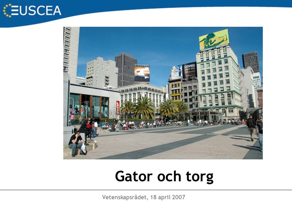 Vetenskapsrådet, 18 april 2007 Gator och torg