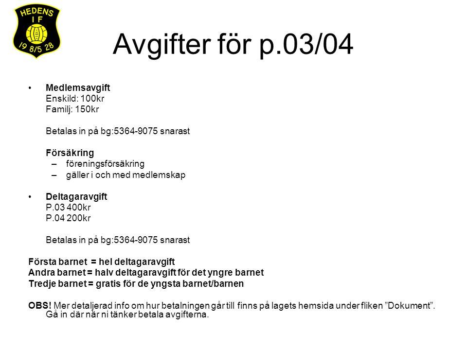 Avgifter för p.03/04 Medlemsavgift Enskild: 100kr Familj: 150kr Betalas in på bg:5364-9075 snarast Försäkring –föreningsförsäkring –gäller i och med m