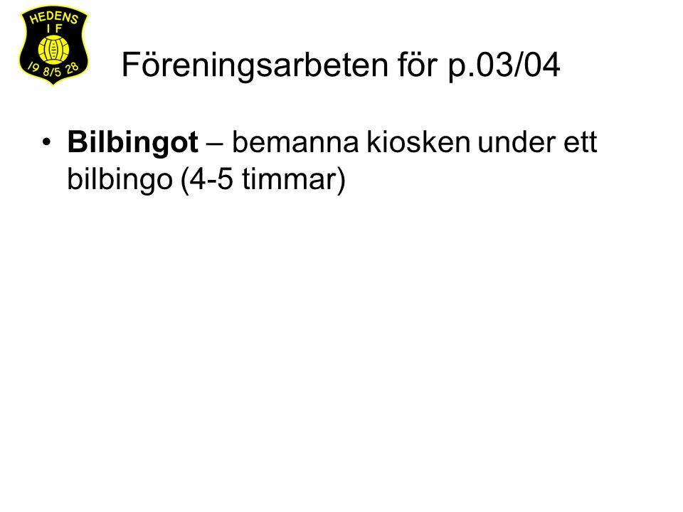 Föreningsarbeten för p.03/04 Bilbingot – bemanna kiosken under ett bilbingo (4-5 timmar)