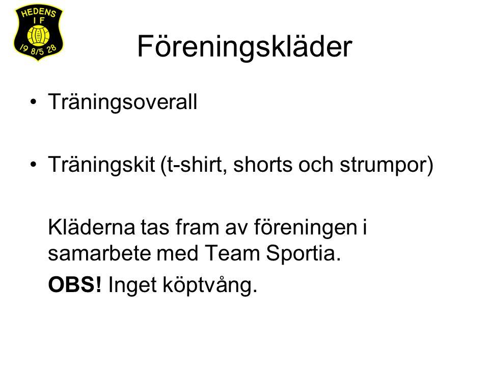 Föreningskläder Träningsoverall Träningskit (t-shirt, shorts och strumpor) Kläderna tas fram av föreningen i samarbete med Team Sportia. OBS! Inget kö