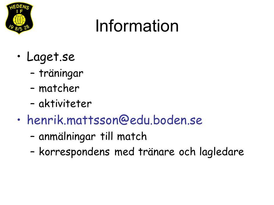 Information Laget.se –träningar –matcher –aktiviteter henrik.mattsson@edu.boden.se –anmälningar till match –korrespondens med tränare och lagledare