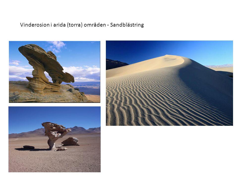 Vinderosion i arida (torra) områden - Sandblästring