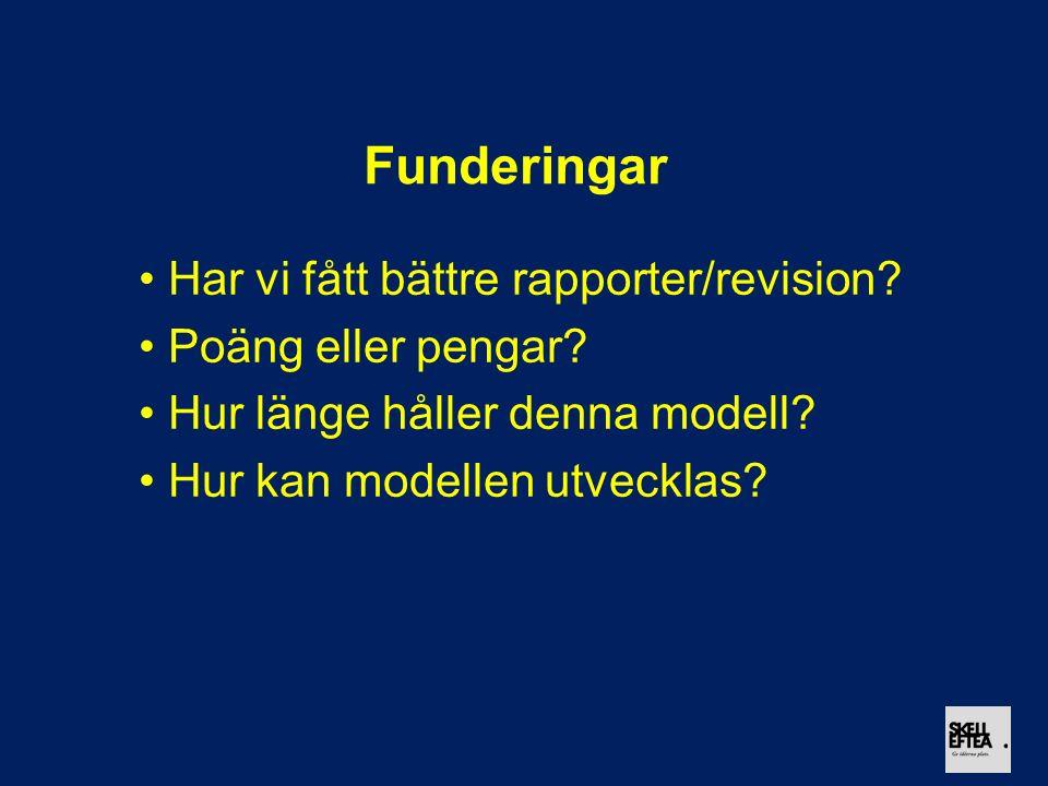 Funderingar Har vi fått bättre rapporter/revision? Poäng eller pengar? Hur länge håller denna modell? Hur kan modellen utvecklas?