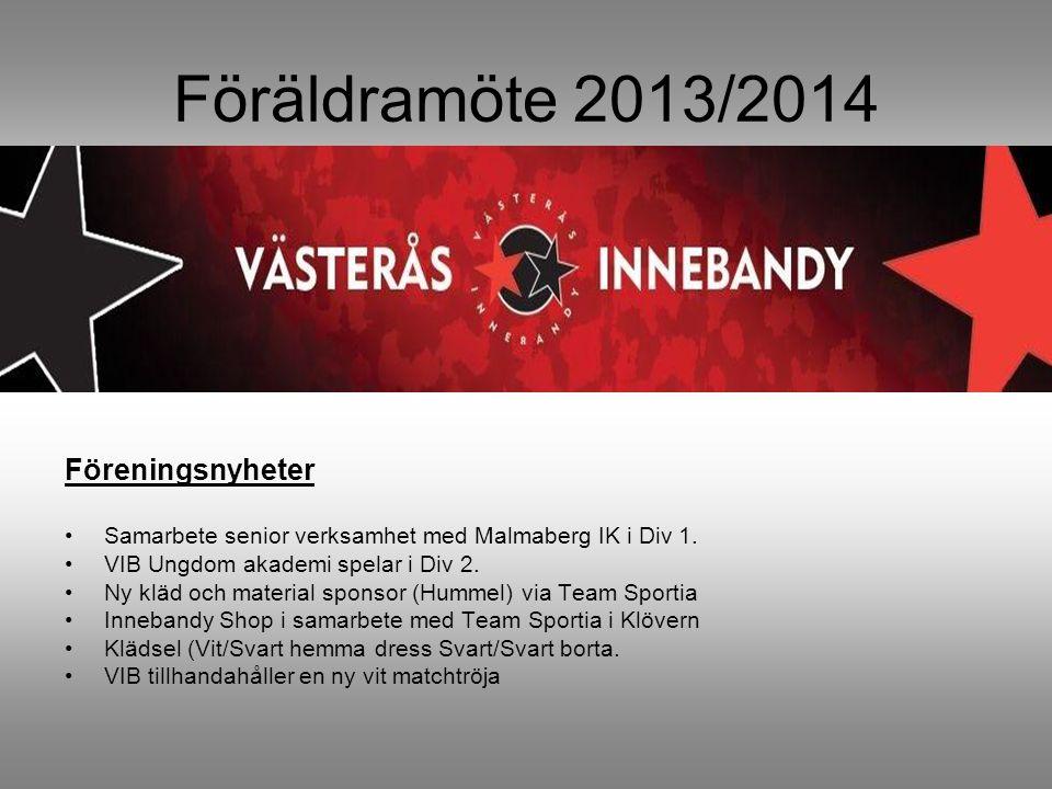 Föräldramöte 2013/2014 Föreningsnyheter Samarbete senior verksamhet med Malmaberg IK i Div 1.