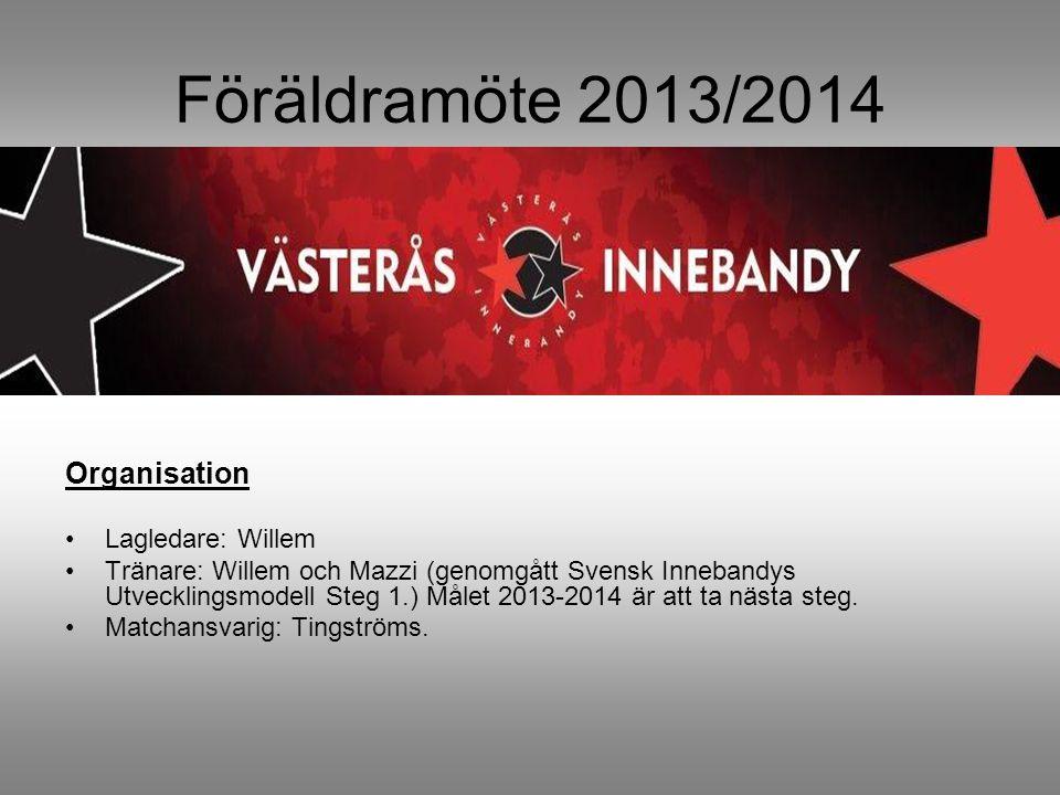 Föräldramöte 2013/2014 Organisation Lagledare: Willem Tränare: Willem och Mazzi (genomgått Svensk Innebandys Utvecklingsmodell Steg 1.) Målet 2013-2014 är att ta nästa steg.