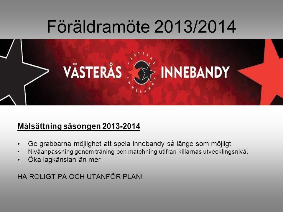 Föräldramöte 2013/2014 Målsättning säsongen 2013-2014 Ge grabbarna möjlighet att spela innebandy så länge som möjligt Nivåanpassning genom träning och matchning utifrån killarnas utvecklingsnivå.