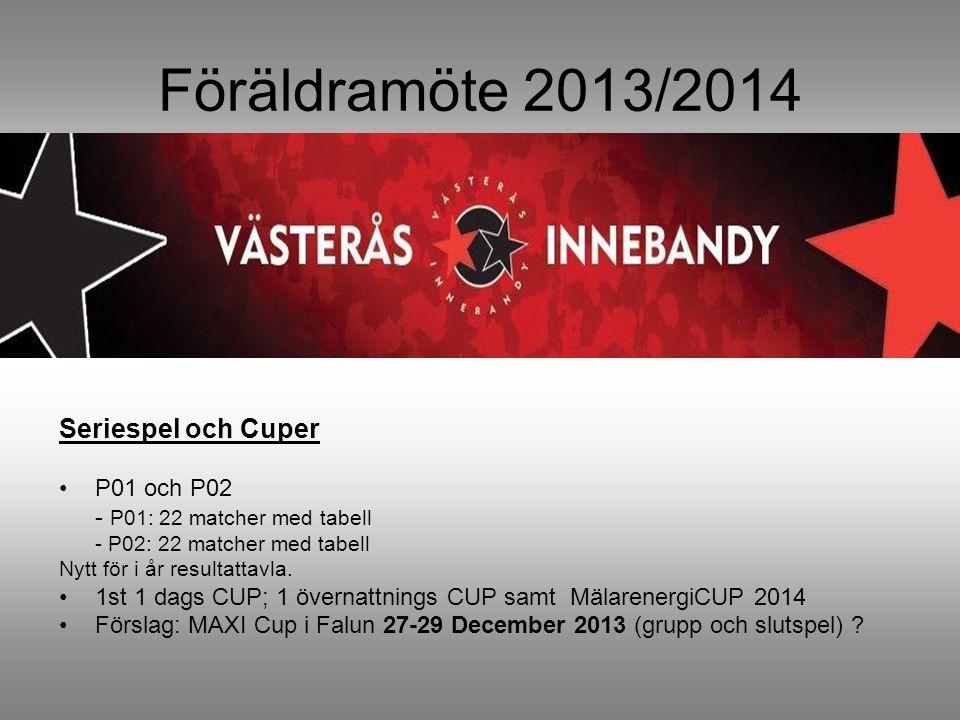 Föräldramöte 2013/2014 Seriespel och Cuper P01 och P02 - P01: 22 matcher med tabell - P02: 22 matcher med tabell Nytt för i år resultattavla.