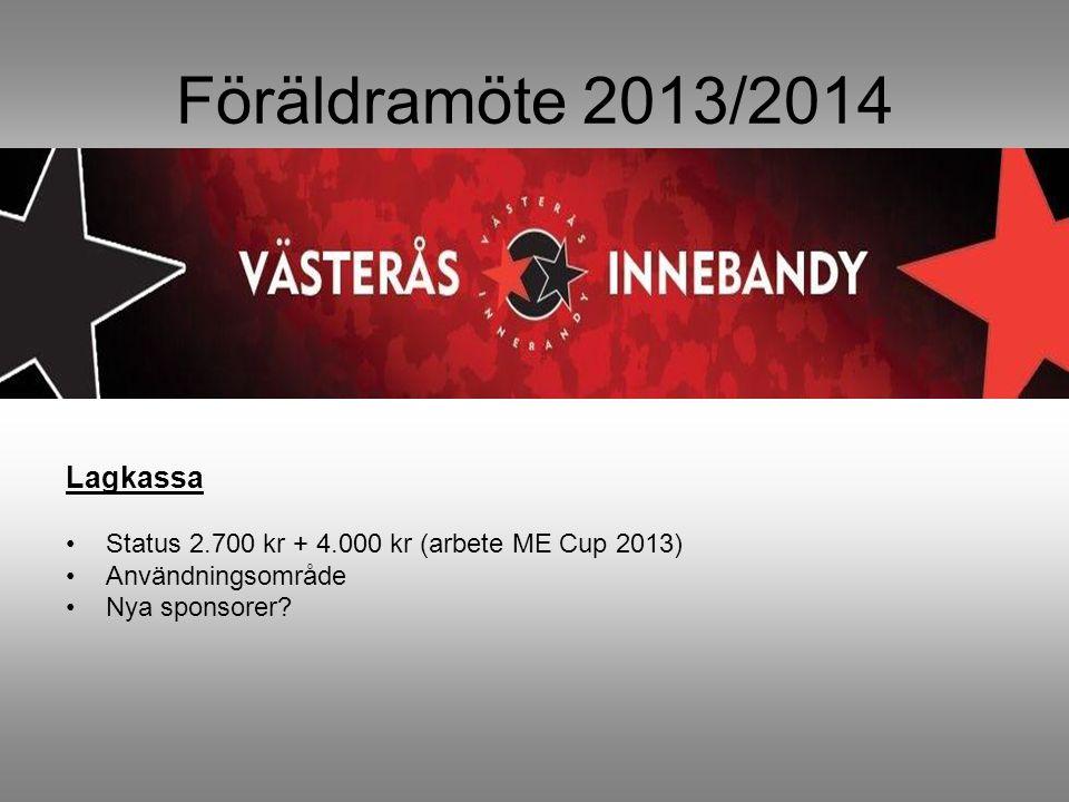 Föräldramöte 2013/2014 Lagkassa Status 2.700 kr + 4.000 kr (arbete ME Cup 2013) Användningsområde Nya sponsorer?