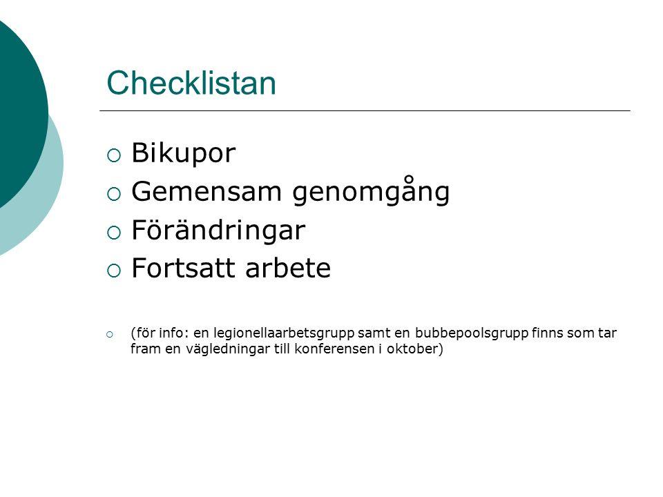 Checklistan  Bikupor  Gemensam genomgång  Förändringar  Fortsatt arbete  (för info: en legionellaarbetsgrupp samt en bubbepoolsgrupp finns som tar fram en vägledningar till konferensen i oktober)