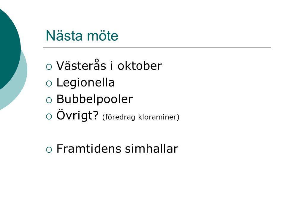 Nästa möte  Västerås i oktober  Legionella  Bubbelpooler  Övrigt.