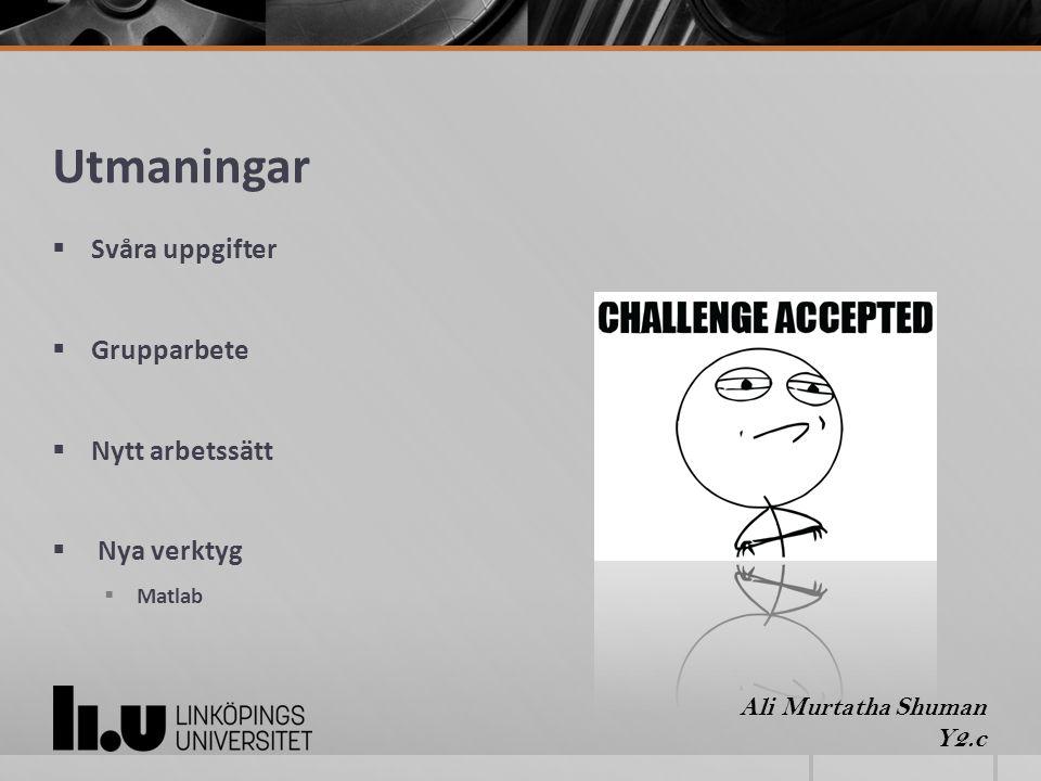 Utmaningar  Svåra uppgifter  Grupparbete  Nytt arbetssätt  Nya verktyg  Matlab Ali Murtatha Shuman Y2.c