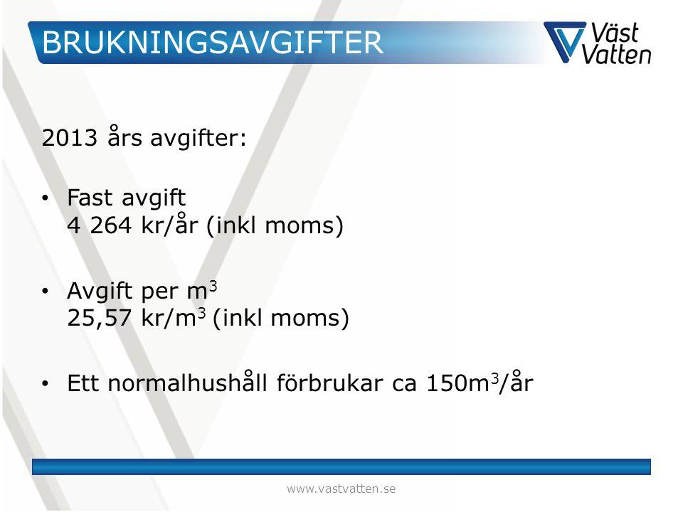 BRUKNINGSAVGIFTER 2013 års avgifter: Fast avgift 4 264 kr/år (inkl moms) Avgift per m 3 25,57 kr/m 3 (inkl moms) Ett normalhushåll förbrukar ca 150m 3 /år www.vastvatten.se