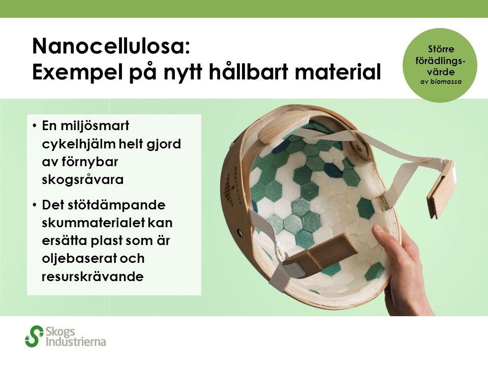 Nanocellulosa: Exempel på nytt hållbart material En miljösmart cykelhjälm helt gjord av förnybar skogsråvara Det stötdämpande skummaterialet kan ersätta plast som är oljebaserat och resurskrävande Större förädlings- värde av biomassa