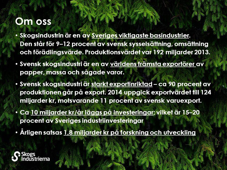 Om oss Skogsindustrin är en av Sveriges viktigaste basindustrier.