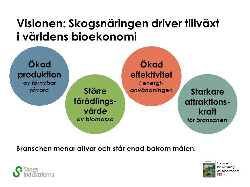 Visionen: Skogsnäringen driver tillväxt i världens bioekonomi Branschen menar allvar och står enad bakom målen.