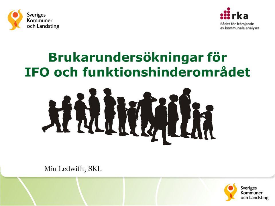 Brukarundersökningar för IFO och funktionshinderområdet Mia Ledwith, SKL