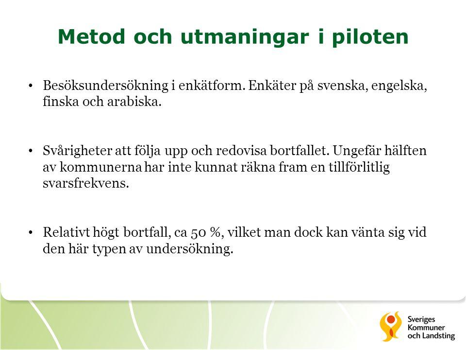 Metod och utmaningar i piloten Besöksundersökning i enkätform.