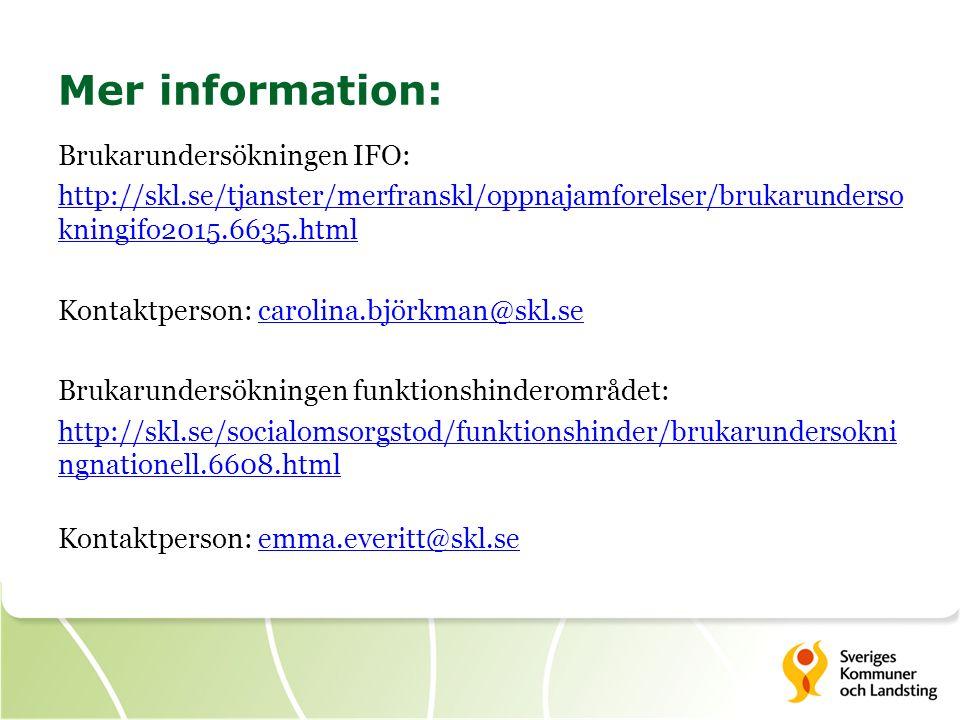 Mer information: Brukarundersökningen IFO: http://skl.se/tjanster/merfranskl/oppnajamforelser/brukarunderso kningifo2015.6635.html Kontaktperson: carolina.björkman@skl.secarolina.björkman@skl.se Brukarundersökningen funktionshinderområdet: http://skl.se/socialomsorgstod/funktionshinder/brukarundersokni ngnationell.6608.html Kontaktperson: emma.everitt@skl.seemma.everitt@skl.se