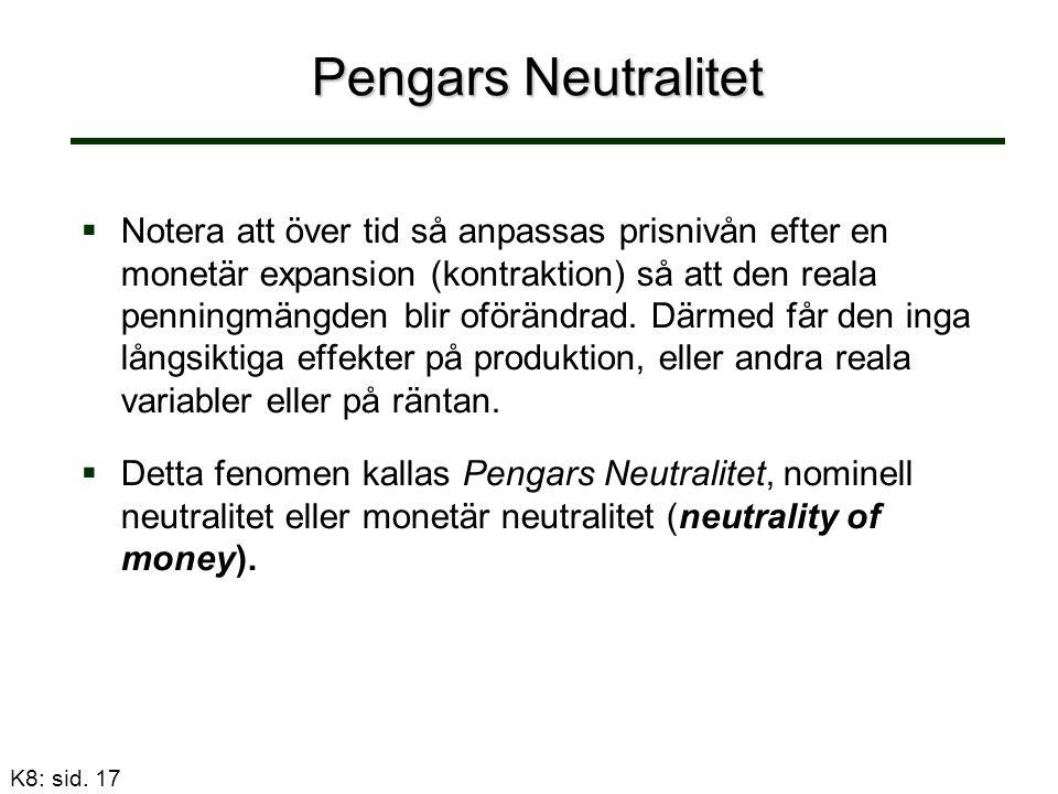 Pengars Neutralitet   Notera att över tid så anpassas prisnivån efter en monetär expansion (kontraktion) så att den reala penningmängden blir oförändrad.