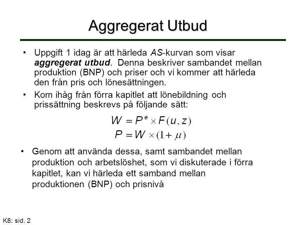 K8: sid. 2 Aggregerat Utbud Uppgift 1 idag är att härleda AS-kurvan som visar aggregerat utbud.