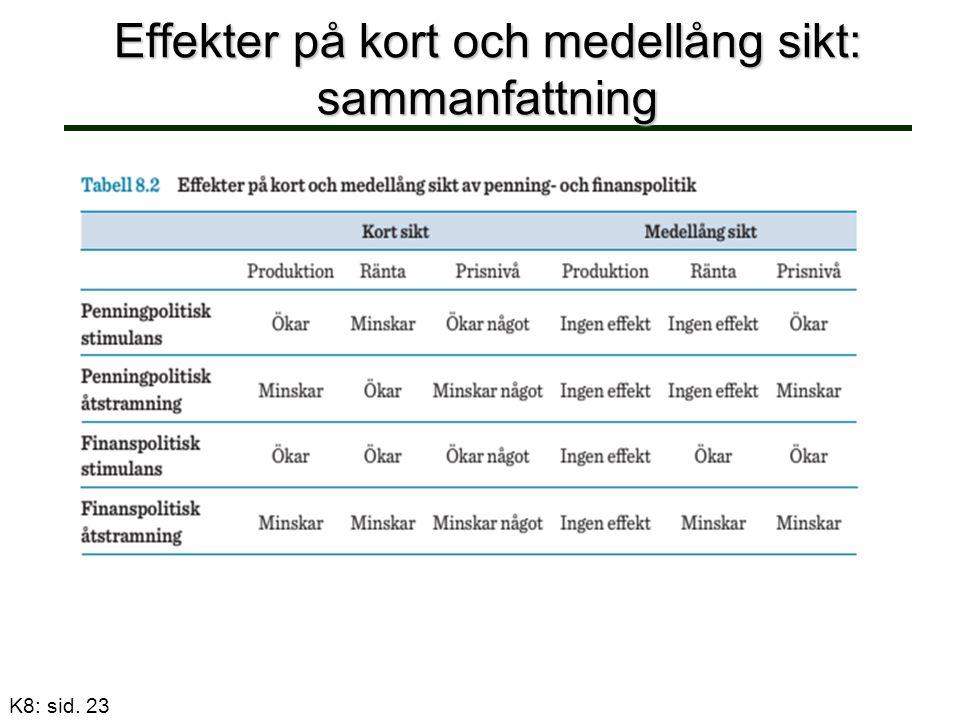 Effekter på kort och medellång sikt: sammanfattning K8: sid. 23