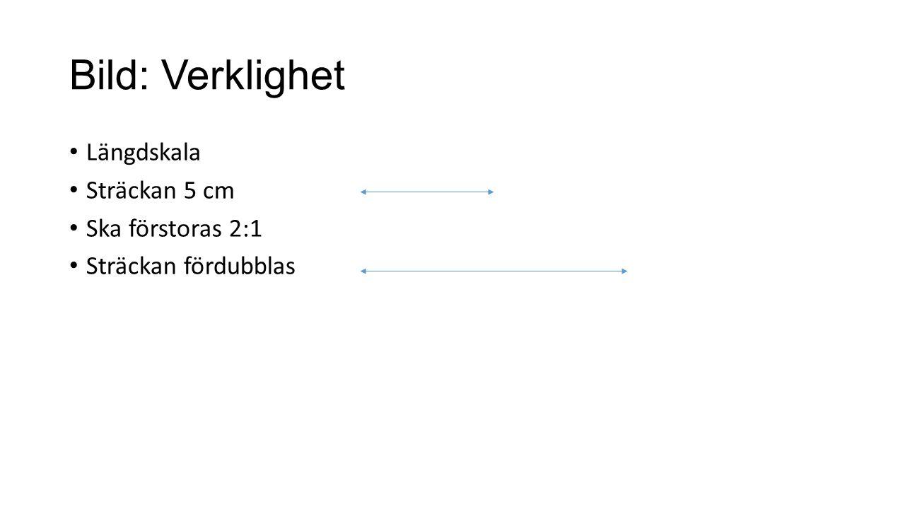 Bild: Verklighet Längdskala Sträckan 5 cm Ska förstoras 2:1 Sträckan fördubblas